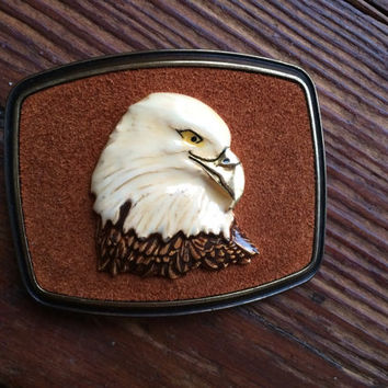 vintage 1978 eagle belt buckle, bronze and suede, americana, American, bird