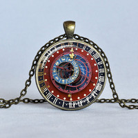 ASTRONOMICAL STEAMPUNK CLOCK Pendant Burgundy Blue Gold Zodiac Clock Astrological Clock Steampunk Jewelry Astronomy Pendant