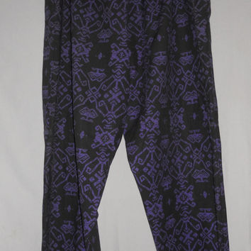 Vintage 80s Geometric Hammer Pants Black Purple Drawstring Loungewear