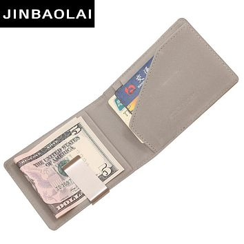 PU Leather Money Clips Men Wallets Coin Pocket Purse Money Clamp For Money Card Slots Magnet Hasp Clips Fashion Card Case Wallet