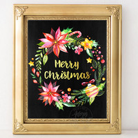 Christmas print, Christmas wreath, chalkboard printable, Merry Christmas print wall art decoration Christmas cards, holiday Instant download