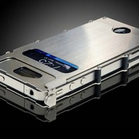 Metal Iron Man 180-degree Flip Case Skin Cover Screen Protector For iPhone 4 4g 4s Silver