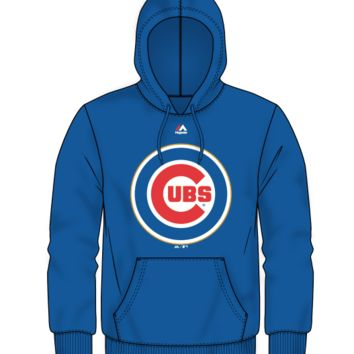Chicago Cubs 2017 Gold Program Wordmark Hoodie By Majestic