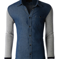 LE3NO Mens Classic Long Sleeve Button Down Denim Shirt (CLEARANCE)
