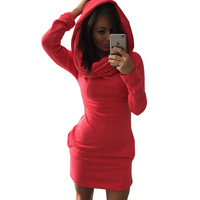 One Piece Hoodie Knitted Sweater Dress