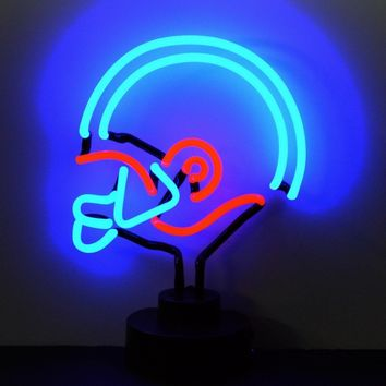 Blue/Red Football Helmet Neon Sculpture