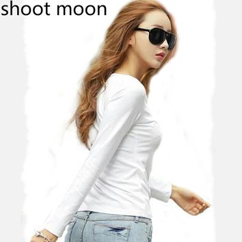 shoot moon T Shirt Spring Autumn Casual Loose Boat Neck Tee Shirts Tops Women white Long Sleeve Leather T-Shirt