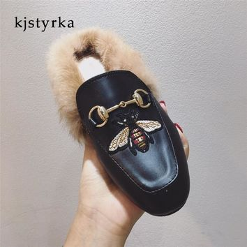 Kjstyrka 2018 Brand designer Embroidery Bee women mules warm fur ladies prince town flats shoes