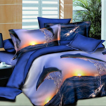 Dolphin Bay Bed linen quilt bedding textile trade bedline family of four  bed set  3D four sets of textile