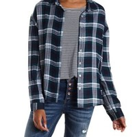 Green Combo Oversized Plaid Button-Up Top by Charlotte Russe