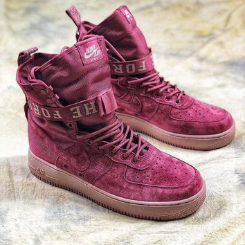 CREYNW6 Nike Special Forces Air Force 1 SF AF1 Suede Red Wine Boots Sport Shoes