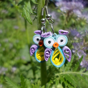 Quilled Earrings, Owls,  funny, quilling jewelry, gifts for her, Eco-friendly.