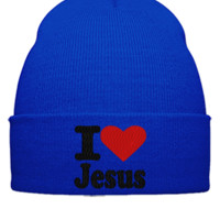 I LOVE JESUS Embroidery - Beanie Cuffed Knit Cap