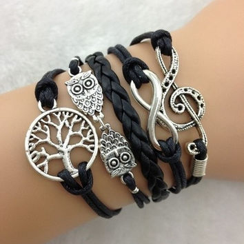 infinity Antique Charm colorful leather peace tree music romatic Bracelet = 5987764289