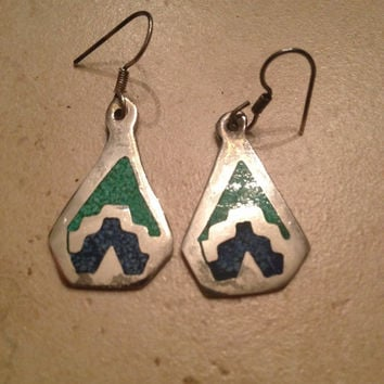 Vintage Alpaca Silver earrings Blue Green Inlay Tribal Aztec Mexican Dangle Jewelry