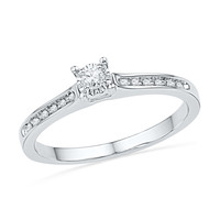 1/10 CT. T.W. Diamond Promise Ring in 10K White Gold