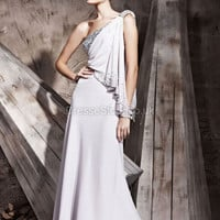 Sheath/Column One Shoulder Chiffon Floor-length White Sequins Evening Dress at dressestore.co.uk