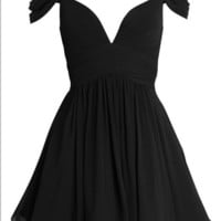 Homecoming Dress,Black A-line Sweetheart Ruched Chiffon Short  Prom Dress