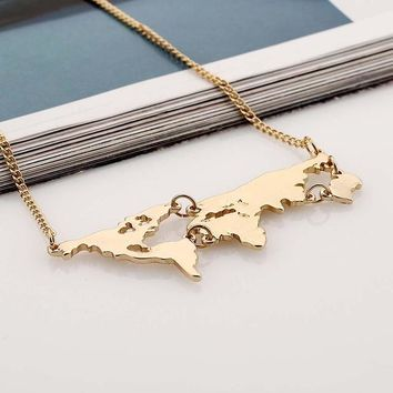 Gold World Map Pendant Necklace For Women Fine Jewelry Gold / Silver / Black 3 colors choose