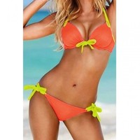 Sexy Bow Tie Embellished Halter Push Up Orange Bikini | Swimwear | WhiskeyPink.com