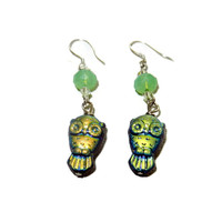 Iridescent Blue and Mint Green Owl Dangle Earrings, Sterling Silver