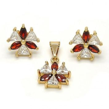 Gold Layered Earring and Pendant Adult Set, Flower Design, with Cubic Zirconia, Golden Tone