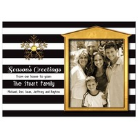 Elegant Gold Accent House Frame Photo Holiday Card