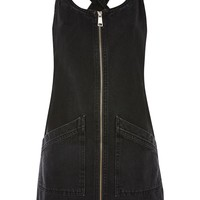 MOTO Zip Front Denim Pinafore Dress - Dresses - Clothing