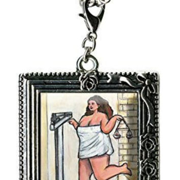 Curvy Girl Bathroom Scale Weigh in Antique Silver Huge Oversize Multi Use Clip Charm Pendant