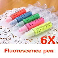 Cool Gifts 6x Liquid Syringe Highlighter Watercolor Pen Hospital Medical Stationery = 1930344452