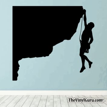 Rock Climbing Wall Decal - Man Mountain Climber Sticker #00020