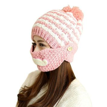 MDIG9GW Cute Stylish Beard Winter Hat For Women Fashion Beanies with Mouth Mask Wool Hat Knit Cap Face Warm Ear Cap
