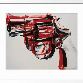 Gun, c.1981-82 (black and red on white) Framed Giclee Print by Andy Warhol at Art.com