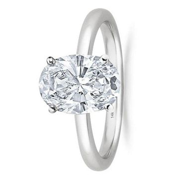 .1/2 Carat GIA Certified 14K White Gold Solitaire Oval Cut Diamond Engagement Ring (0.5 Ct I-J Color, VS1-VS2 Clarity)