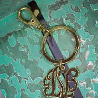 Initial N Keychain in Gold