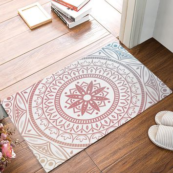 Autumn Fall welcome door mat doormat Vintage Pink Blue Mandala Decorative Pattern s Kitchen Floor Bath Entrance Rug Mat Absorbent Indoor Bathroom AT_76_7