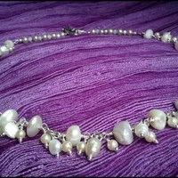 White Freshwater and Glass Pearl White Crystal Bridal Necklace and Earring Set