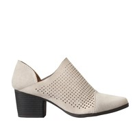 Ivory Suede Perforated Ankle Booties