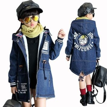 Trendy New Winter Girls Jacket Children Denim Jackets Long Warm Clothing Kids Plus Thick Velvet Jacket Cotton Hooded Outwear for Girl AT_94_13