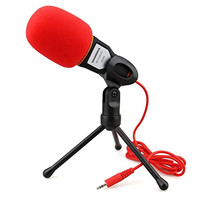 Professional Condenser Sound Microphone With Stand for PC Laptop Skype Recording Black