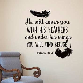 Psalm 91:4 He Will Cover You With His Feathers Bible Verse Wall Decal- Scripture Wall Decal Bedroom Living Room Family Wall Vinyl Art Q222