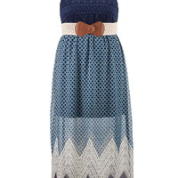 Plus Size - Chevron Stripe Bottom Chiffon Maxi Dress - Blue Jasmine Combo