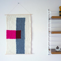 """Hand Woven Wall Hanging - """"Pink Block"""" - 11"""" x 17"""""""