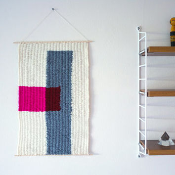"Hand Woven Wall Hanging - ""Pink Block"" - 11"" x 17"""