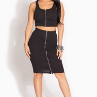 Black Knit Ribbed Zipper Accent Pencil Skirt