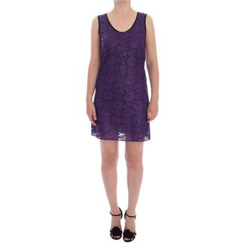 Dolce & Gabbana Purple Floral Lace Short Mini Shift Dress