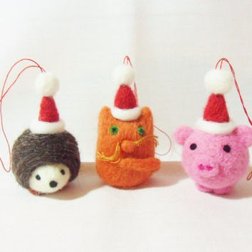 Needle Felted Christmas Decorations - set of 3 - hedgehog, cat and pig - felt Christmas ornaments - felted christmas animals