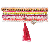 Multi Pack Beaded Bracelet Set - Pink Multi