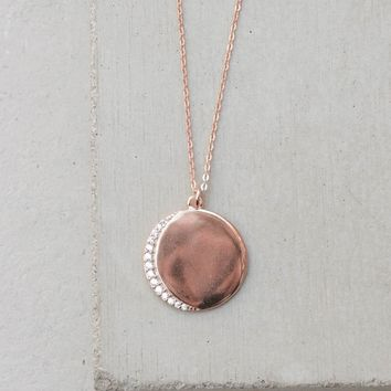 Customizable Crescent Moon Necklace - Rose Gold