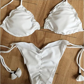 2017 White Sexy Strappy Bikini Set Retro Swimsuit Swimwear [10149920463]